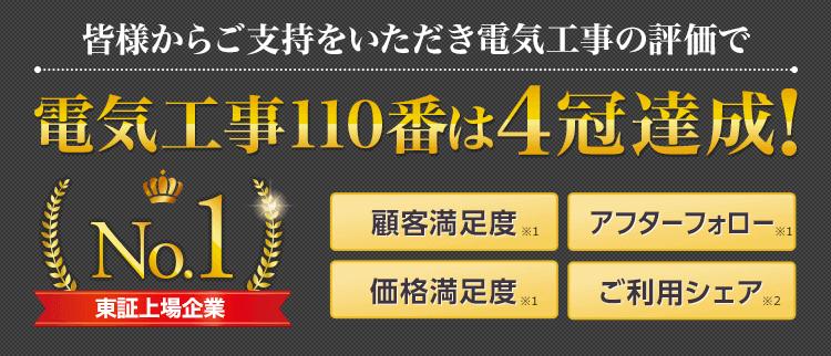 皆様からご支持をいただき電気工事110番は3冠達成! 顧客満足度No.1 到着スピードNo.1 価格満足度No.1