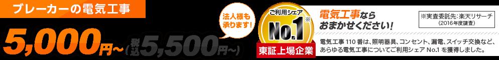 漏電改修・分電盤の電気工事 スピード対応 5,000円~ 法人様も承ります ご利用シェアNo.1 東証上場企業